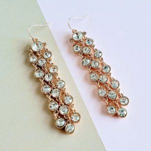 Gold tone statement crystal earrings